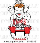 Vector Clip Art of Retro Happy Redhead Housewife Holding Freshly Baked Cookies 2 by Andy Nortnik
