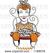 Vector Clip Art of Retro Happy Redhead Housewife Holding Freshly Baked Cookies by Andy Nortnik