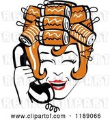 Vector Clip Art of Retro Happy Redhead Housewife with Her Hair up in Curlers, Laughing While Talking on a Landline Telephone by Andy Nortnik