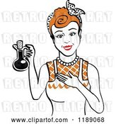 Vector Clip Art of Retro Happy Redhead Lady in an Apron, Holding up a Bottle of Cooking Oil by Andy Nortnik