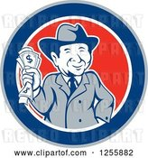 Vector Clip Art of Retro Happy Rich Guy Holding Cash Money in a Circle by Patrimonio