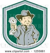Vector Clip Art of Retro Happy Rich Guy Holding Cash Money in a Shield by Patrimonio