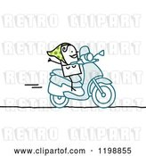 Vector Clip Art of Retro Happy Stick Lady on a Scooter by NL Shop