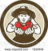 Vector Clip Art of Retro Happy Tomato Farmer Holding Tomatoes in a Circle by Patrimonio