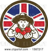 Vector Clip Art of Retro Happy Tomato Farmer Holding Tomatoes in a Union Jack Flag Circle by Patrimonio