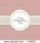 Vector Clip Art of Retro Happy Valentines Day Greeting over a Ribbon on Pink Polka Dots by KJ Pargeter