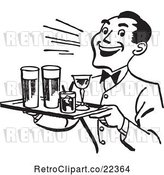 Vector Clip Art of Retro Happy Waiter Serving Cocktails by BestVector