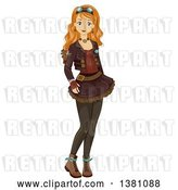 Vector Clip Art of Retro Happy White Teenage Girl in Steampunk Clothing by BNP Design Studio
