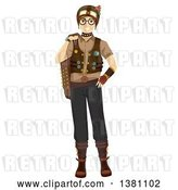Vector Clip Art of Retro Happy White Teenage Guy in Steampunk Clothing by BNP Design Studio