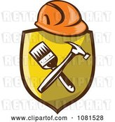 Vector Clip Art of Retro Hardhat over a Shield with a Paintbrush and Hammer by Patrimonio