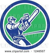 Vector Clip Art of Retro Harnessed Male Arborist Operating a Chainsaw in a Circle by Patrimonio