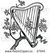 Vector Clip Art of Retro Harp in a Tree by Prawny Vintage