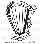 Vector Clip Art of Retro Harp Instrument over a White Background by Andy Nortnik