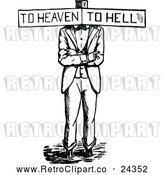 Vector Clip Art of Retro Haven or Hell Sign Man by Prawny Vintage
