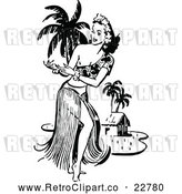 Vector Clip Art of Retro Hawaiian Hula Dancer near a Beach Hut by Prawny Vintage