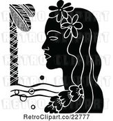 Vector Clip Art of Retro Hawaiian Lady with a Floral Lei and Palm Tree by Prawny Vintage