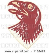 Vector Clip Art of Retro Hawk Head Looking up by Patrimonio