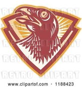 Vector Clip Art of Retro Hawk in a Shield of Rays by Patrimonio