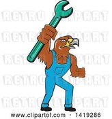 Vector Clip Art of Retro Hawk Mechanic Guy Wearing Overalls and Holding up a Spanner Wrench by Patrimonio