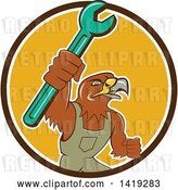 Vector Clip Art of Retro Hawk Mechanic Guy Wearing Overalls and Holding up a Spanner Wrench in a Brown White and Yellow Circle by Patrimonio