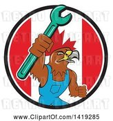 Vector Clip Art of Retro Hawk Mechanic Guy Wearing Overalls and Holding up a Spanner Wrench in a Canadian Flag Circle by Patrimonio