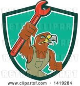 Vector Clip Art of Retro Hawk Mechanic Guy Wearing Overalls and Holding up a Spanner Wrench in a Green White and Turquoise Shield by Patrimonio