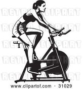Vector Clip Art of Retro Healthy Lady Exercising on a Stationary Bicycle in a Gym by David Rey