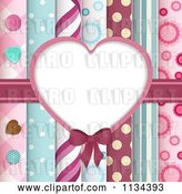 Vector Clip Art of Retro Heart Frame over Papers and Buttons by Elaineitalia