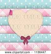 Vector Clip Art of Retro Heart Frame over Scrapbook Papers and Buttons by Elaineitalia