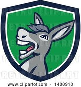 Vector Clip Art of Retro Hee Hawing Braying Donkey in a Blue White and Green Shield by Patrimonio