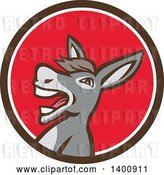Vector Clip Art of Retro Hee Hawing Braying Donkey in a Brown White and Red Circle by Patrimonio