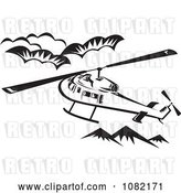 Vector Clip Art of Retro Helicopter Above Mountains by Patrimonio