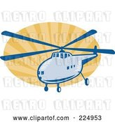 Vector Clip Art of Retro Helicopter and Rays Logo by Patrimonio