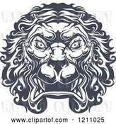 Vector Clip Art of Retro Heraldic Lion Face by Vector Tradition SM