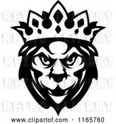 Vector Clip Art of Retro Heraldic Lion with a Crown by Vector Tradition SM