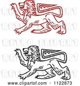 Vector Clip Art of Retro Heraldic Lions 2 by Vector Tradition SM