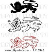 Vector Clip Art of Retro Heraldic Lions by Vector Tradition SM
