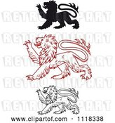 Vector Clip Art of Retro Heraldic Lions Clawing by Vector Tradition SM