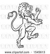 Vector Clip Art of Retro Heraldic Rampant Lion by AtStockIllustration