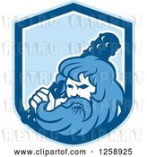 Vector Clip Art of Retro Hercules Holding a Club in a Blue and White Shield by Patrimonio