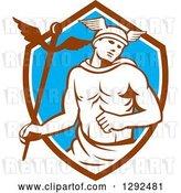 Vector Clip Art of Retro Hermes with a Caduceus in a Brown White and Blue Shield by Patrimonio