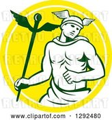Vector Clip Art of Retro Hermes with a Caduceus in a Yellow and White Circle by Patrimonio
