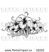 Vector Clip Art of Retro Hibiscus Flowers by AtStockIllustration
