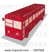 Vector Clip Art of Retro High Angle View of a Red Shuttle Bus by Patrimonio
