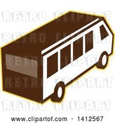 Vector Clip Art of Retro High Angle View of a Van Outlined in Yellow by Patrimonio