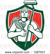 Vector Clip Art of Retro High Rise Male Window Washer Holding a Rope and Brush in a Green White and Red Shield by Patrimonio