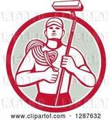 Vector Clip Art of Retro High Rise Male Window Washer Holding a Rope and Brush in a Red White and Taupe Circle by Patrimonio