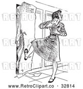 Vector Clip Art of Retro High School Teen Girl with Her Arms Full of Books, Kicking a Full Locker Shut by Picsburg
