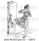 Vector Clip Art of Retro High School Teenage Girl with Her Arms Full of Books, Kicking a Full Locker Shut by Picsburg