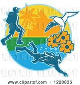 Vector Clip Art of Retro Hiker Scuba Diver and Red Billed Tropicbird with Black Eyed Susan Flowers on an Island by Patrimonio